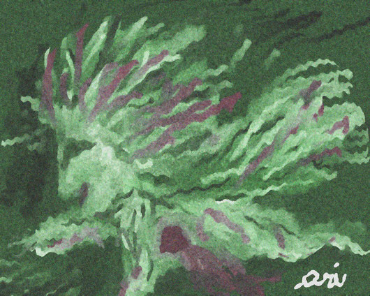IL VOLO DI UNA BAMBINA CHIAMATA ARI - 2012 dipinto digitale - tecnica pastelli ad olio