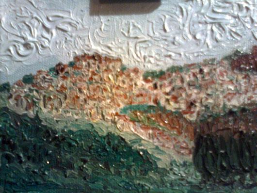 PAESE MIO CHE STAI SULLA COLLINA-  2012 olio su tela 13 x 18