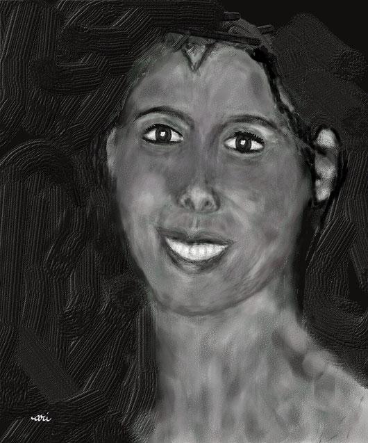 RITRATTO DI MARUA AMI - seconda stesura - dipinto digitale tecnica gessetto