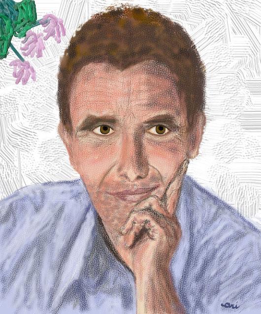 RITRATTO DI SERGIO CASAGRANDE - 2012 dipinto digitale  tecnica pastello