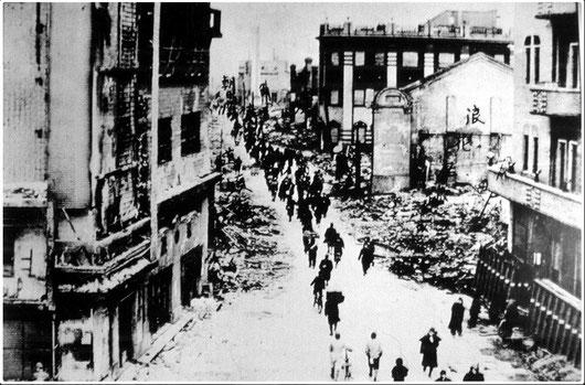 昭和20年 空襲直後の道頓堀通り(写真提供:道頓堀商店会)