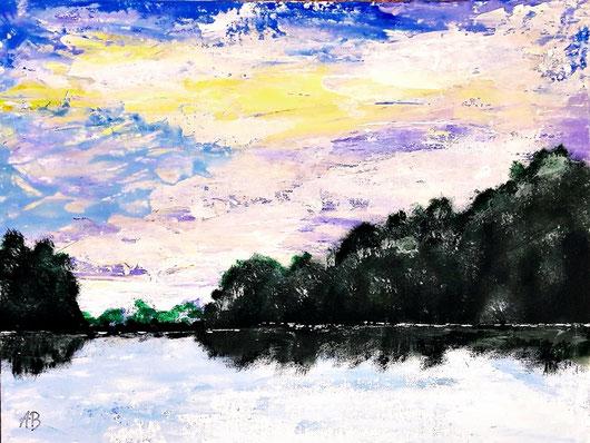Der See-Original Acrylgemälde, Landschaftsbild, Himmel, Wald, Bäume, Wasser, See, Sonnenuntergang, Acfylmalerei, Acrylbild