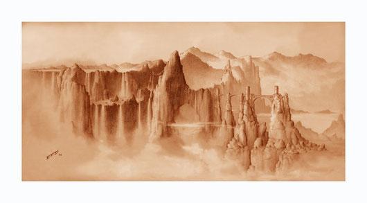 fantasy art, fantasy drawings, drawings by Spanish artists, fantasy landscapes, pencil drawings, landscapes, castles, castle drawings