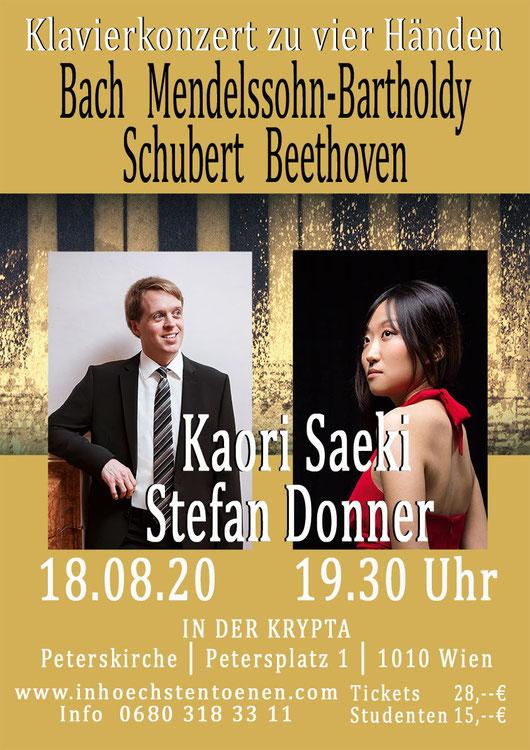Klavierkonzert zwei- & vierhändig Robert u. Clara Schumann - Felix Mendelssohn  in der KRYPTA