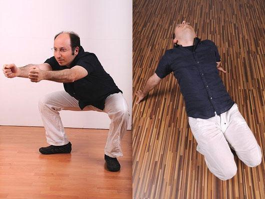 Links die Übung für den Milzmeridian, rechts die Übung für den Magenmeridian.
