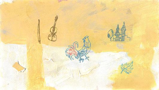「Sarabande」333×190mm キャンバス・アクリル絵具・コラージュ