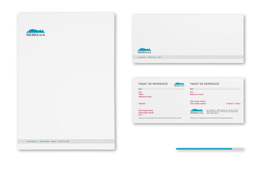 Diseño de papeleria comercial. Medes-Sub