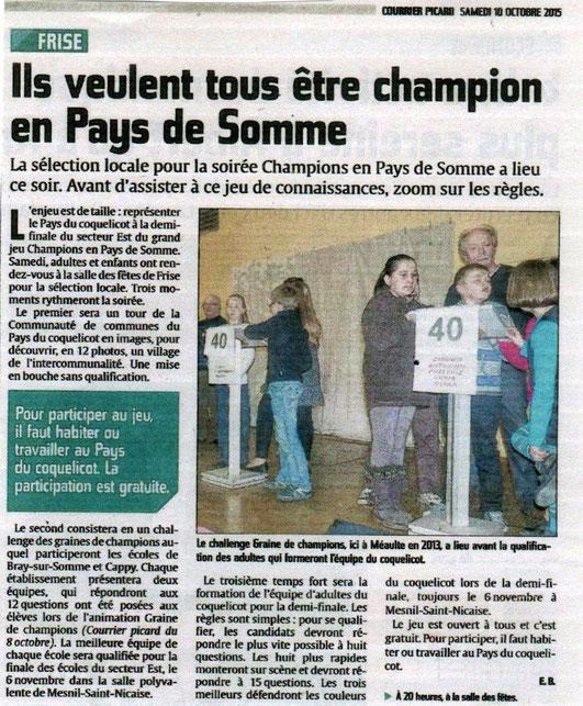 Soirée de Frise - Article du Courrier Picard - Octobre 2015