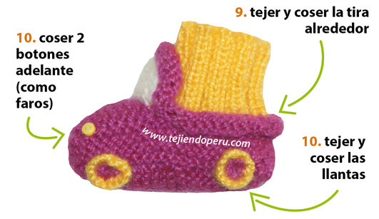 Cómo tejer botitas con diseño de auto en dos agujas o palitos para bebés