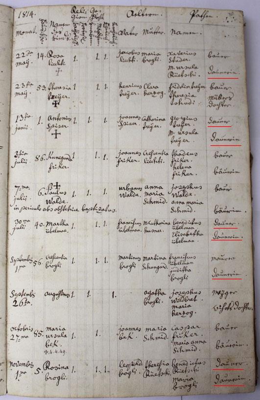 Pfarrarchiv Wittnau: Geburtenregister 1784 - 1817 (KI 05 Wittnau)