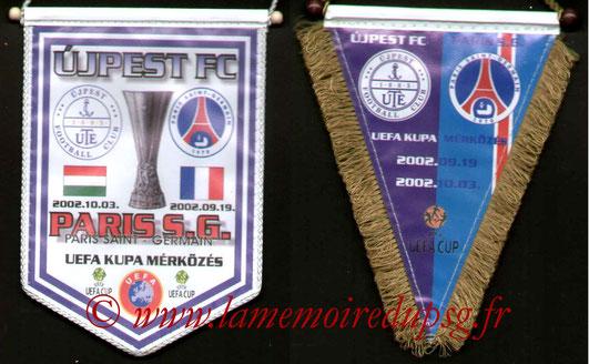 Fanions PSG-Ujpest FC 2002-03s