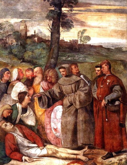 """Tiziano Vecellio, """"Miracolo del piede risanato"""", 1511 (Padova, Scuola del Santo)"""