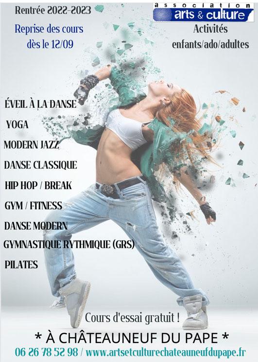 Danse à Chateauneuf du Pape : hip hop, classique, éveil à la danse, modern jazz, GRS et gym yoga pilates GR gymnastique ryhtmique