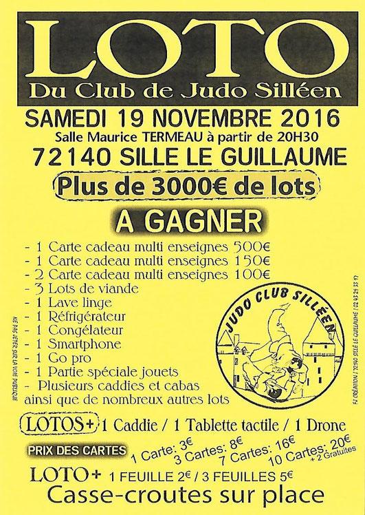 Loto du Judo Club Silléen - 19 novembre 2016 - Centre Culturel Maurice Termeau à Sillé le Guillaume