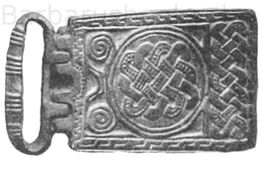 Schnalle mit Beschlag, 10,2 cm. Fundort Kanton Waadt. Baron de Bonstetten. Erz.