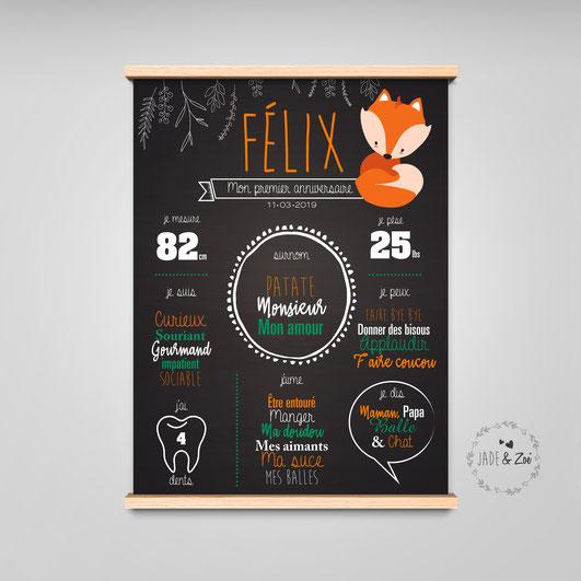 affiche noir sombre décoration murale souvenir renard cadeau anniversaire enfant bébé souvenir