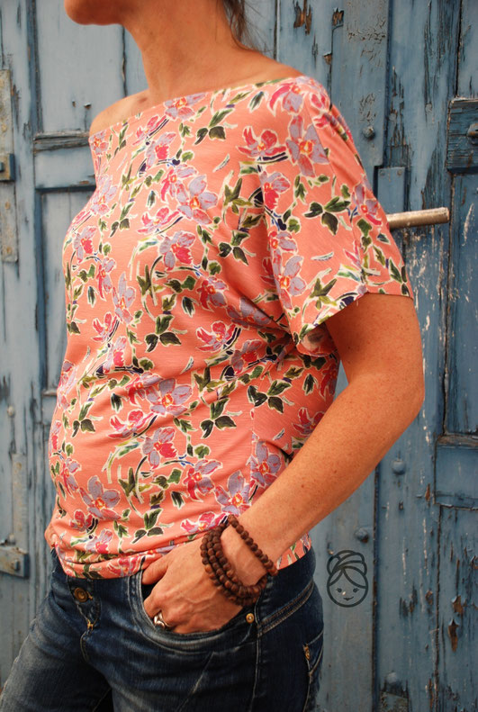 Katjuschka - Miss MaliMala  - Slub Jersey - apricot - Designbeispiel - Swafing Stoffe - Wasserfall Shirt