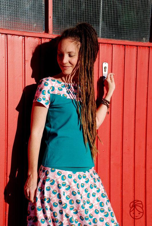 Katjuschka - Sommershirt Hoodie Hoodyloo Ballonrock Bella balloon Sommerrock T-Shirt Damen Shirt kurzarm