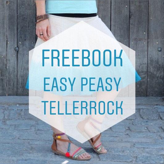 Katjuschka - Easy Peasy Rock Tellerrock Schwingrock Kreisrock Halbkreisrock gratis Nähanleitung freeBook Nähtutorial Nähen