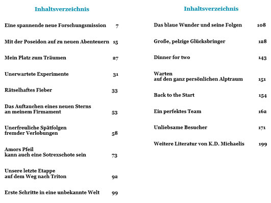 Inhaltsverzeichnis eBook/Buch: Tritons geheimnisvolle Welt - ein ganz besonderer Science-Fiction-Roman von K.D. Michaelis