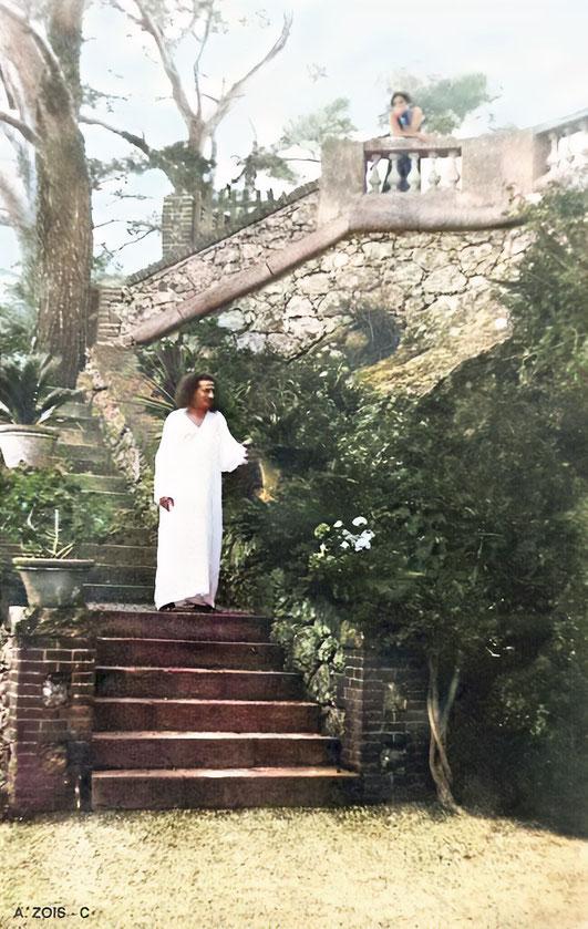 Meher Baba at the Villa Altachiara, Portofino, Italy- July 1933. Image colourized & enhanced by Anthony Zois