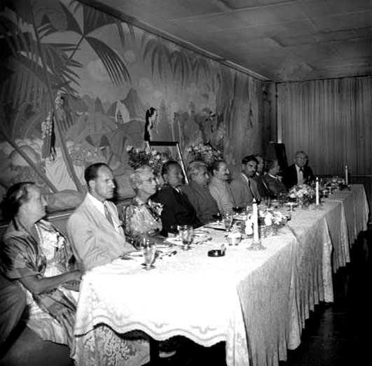 1956 - Longchamps Restaurant, New York City. Margaret on far left is seated at the main table with Meher Baba and his close followers.