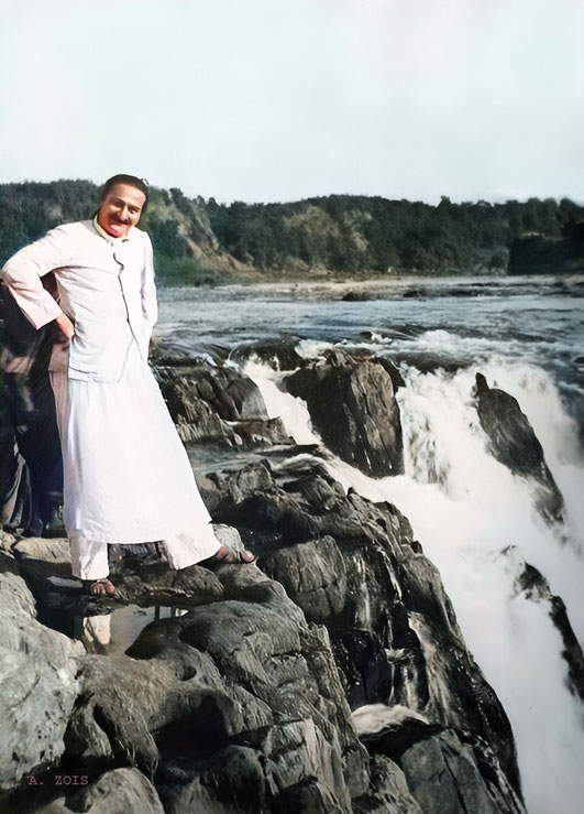 Meher Baba at Dhuandhar Falls - Marble Rocks, near Jabalpur, India - 24th Dec.1938. Image colourized by Anthony Zois.