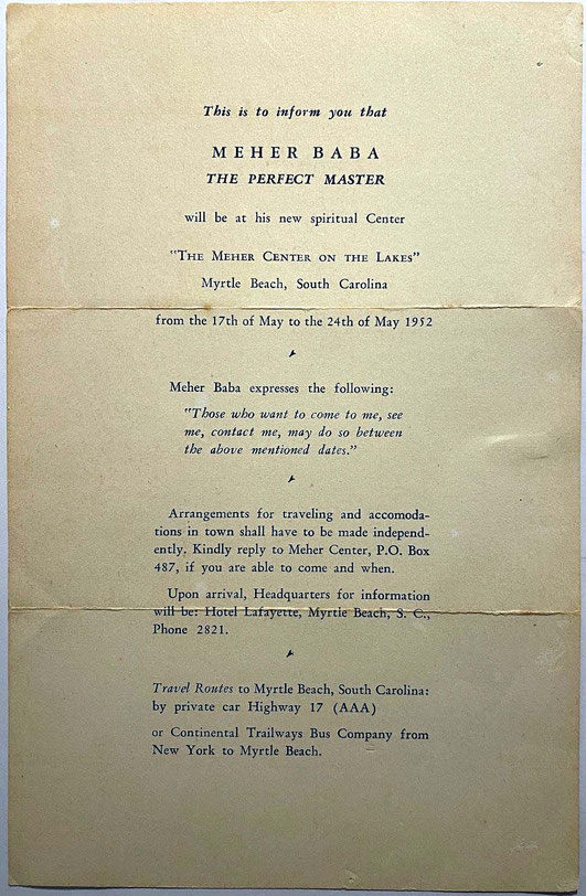 Notice distributed announcing Meher Baba's forthcoming visit to the Center at Myrtle Beach in 1952.  Courtesy of the Meher Center,  Myrtle Beach, SC.
