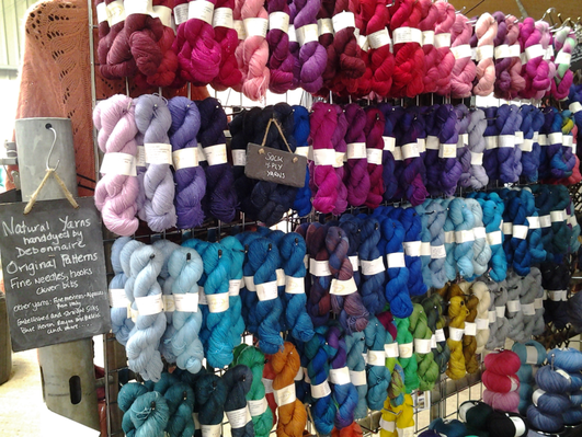 Colourful hand dyed yarns by Debonnaire