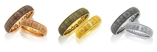Handgefertigte Eheringe aus der Trauring-Kollektion Loveletter von der Goldschmiede OBSESSION Zürich und Wetzikon