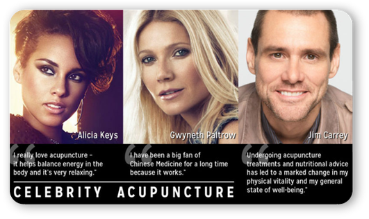 Alicia Keys, Gwyneth Paltrow, Jim Carrey acupuncture