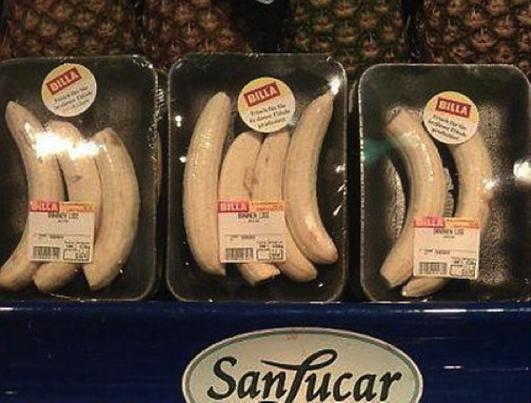 Für die ganz Faulen: Bananen in Styroporschälchen und Folie. Äh, ist das eigentlich wirklich praktischer? Wer isst schon drei Bananen.
