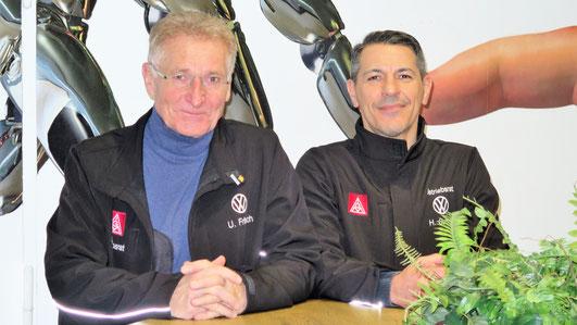 Uwe Fritsch (Betriebsratsvorsitzender) und Haluk Cubuk (Betriebsratskoordinator KC E-Mobilität). [Foto: IGM bei VW BS]
