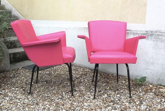 fauteuils skaï rose rockabilly JOLI