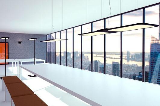 Moderne Bürolampen im Besprechungszimmer