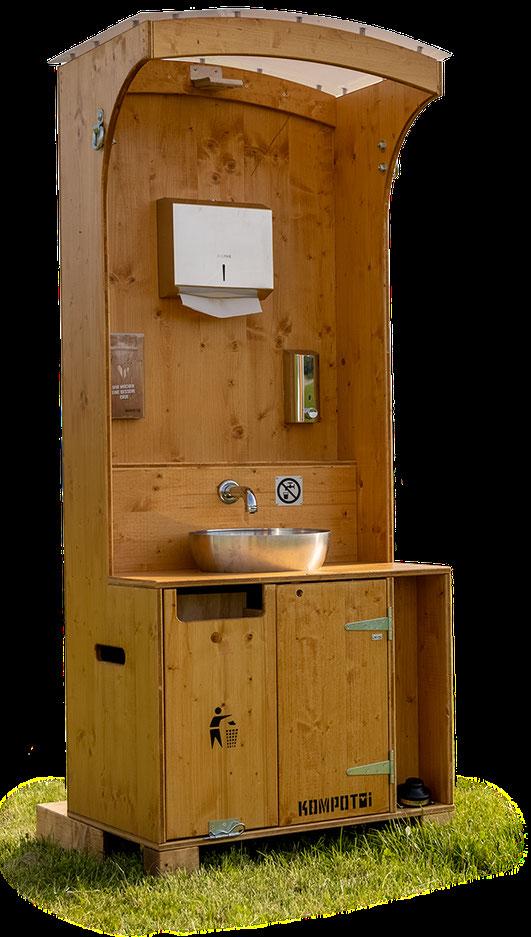 wassersparendes Handwaschbecken passend zu Toilette, Waschbecken, Miet waschbecken, Event waschbecken, Holz Waschbecken, besser als toitoi, Miet WC, Kompotoi Komposttoilette, Toilette für Ihr Fest, kompostklo, ökoklo ,ökotoi, Trockentoilette ,humustoilett