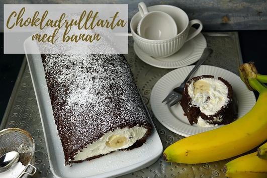Schwedische Schokobiskuitroulade mit Banane