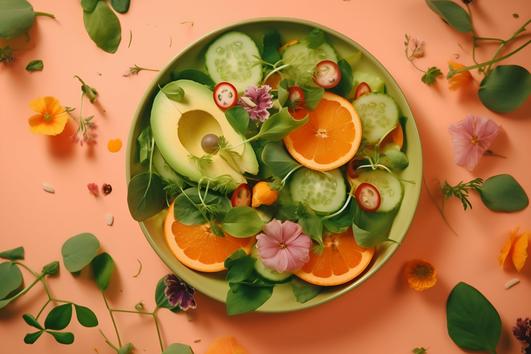 ショッピングバックから飛び出たカラフルな野菜と果物たち。バナナ、かぼちゃ、グレープフルーツ、キャベツ、ズッキーニ、トマト、パプリカ、たまねぎ。