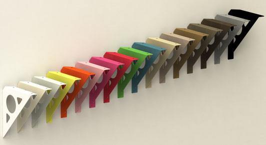 Equerre console design pour étagère murale proposée en 24 coloris