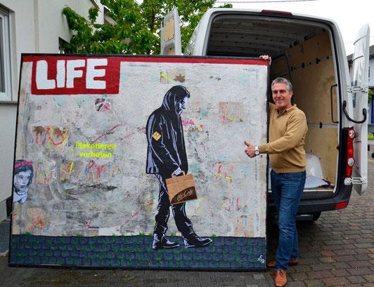 """(c) Divo Santino """"Life..Way"""" Beton, Acryl, Graffiti (Für mehr Information das Bild anklicken)"""