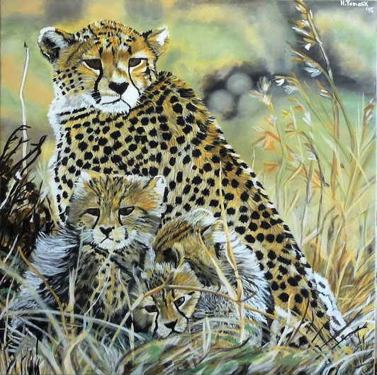 Cheetah-Mother with Babys. 100 x 100 cm, oil on canvas, private owner