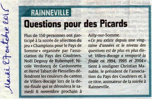 Soirée de Rainneville - Article du Courrier Picard - Octobre 2015