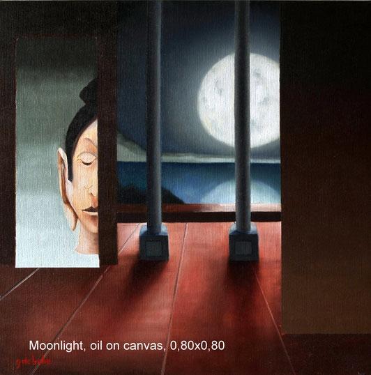 Moonlight  oilieverf op canvas 80cmx80cm .  Prijs; 550 euro inc btw