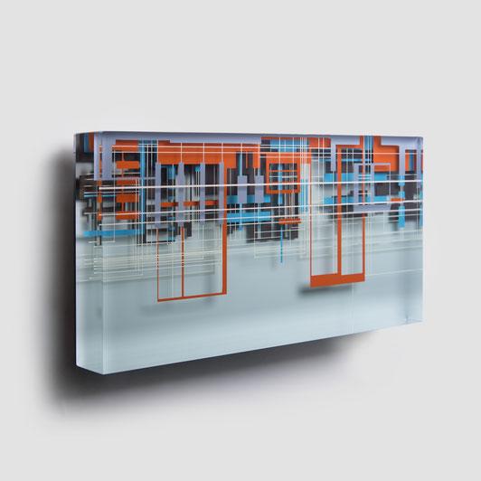 Whoosh III.   glued, polished glass and acrylic paint   25 x 47 x 6 cm