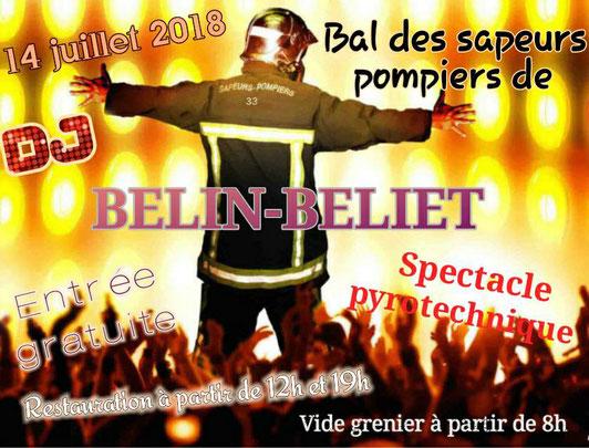 Affiche du Bal du 14 Juillet à Belin-Béliet