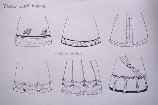 Kleidersäume Rocksäume verzieren - Regency Empire Mode 19. Jahrhundert (© Nina Möller)