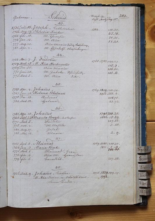 Original-Familienbuch von 1846: Seite 203