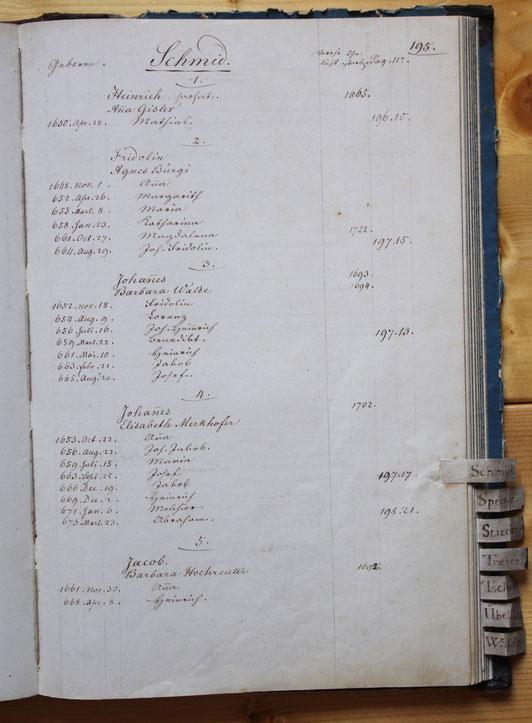 Original-Familienbuch von 1846: Seite 195