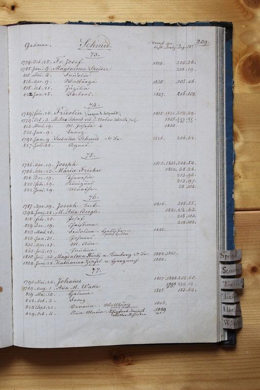 Original-Familienbuch von 1846: Seite 209