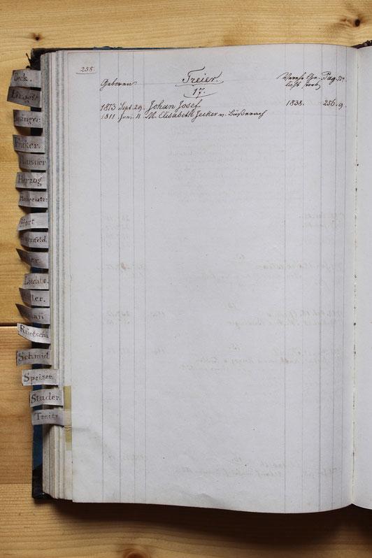 Original-Familienbuch von 1846: Seite 258